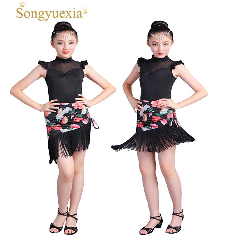 Children's Latin Dance Performance Suit Woman Children's Tassel Print Black Performance Dress Kid Sleeveless Latin Dresses
