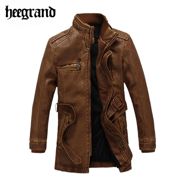 HEE GRAND 2017 New Fashion Men Long Leather Jacket  Winter Coat PU Fur Winter Windproof Warm Overcoats Sashes Windbreaker MWP218