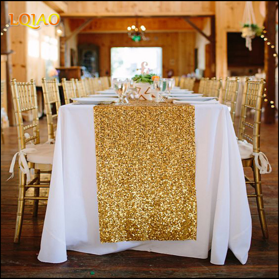 2019 New Wedding Party Decorations Tablecloths 30x180cm(12x72inch) Gold Silver Champagne Sequin Table Runner Flag Cloth Covers