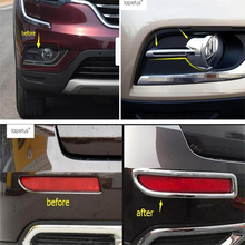 ABS ! Accessories For Renault Koleos 2017 Front Head + Rear Behind Bumper Fog Light Lamp Protector Molding Cover Kit Trim A Set