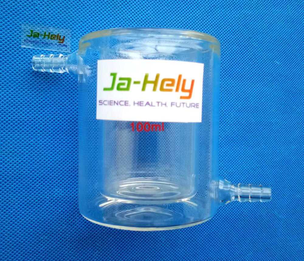 2PCS/lot JA-HELY 50ml~2000ml Double-walled Glass Tempering jacketed Beaker for lab
