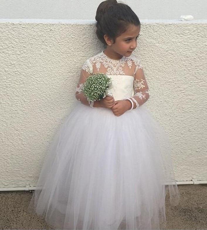 Lovely White  Ivory Little Kids Holy Communion Dresses Long Sleeves  Appliques Tulle Ball Gown Flower Girls Dress For Wedding ed43d6aafdcc