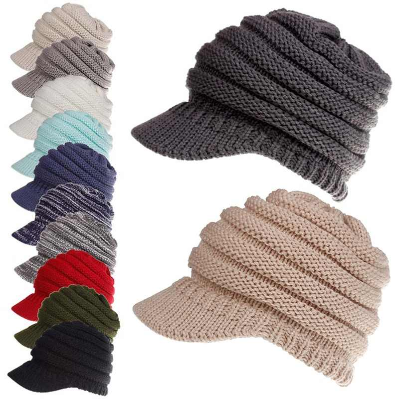 Women Ponytail tennis Baseball Cap Hat outdoor Winter Soft Knit Cap Female Stretch Knitted Warm sports Caps