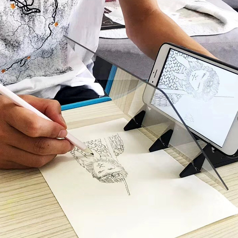 Tracking Projection Optical Drawing Board Sketch Mirror Facing Copy Table Reflection Light Image Board With Mobile Phone Bracket|Graph Plotter| |  - title=