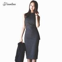 Foamlina Elegant Women Striped Print Vintage Bodycon Dress Summer Sleeveless Business Party Formal Office Casual Work Midi Dress
