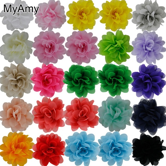 MyAmy 60pcs/lot 4.5'' Multilayer Chiffon Silk Flowers Top Petti Skirt Boutique Hair Flowers Girls Hair Accessories Free Shipping