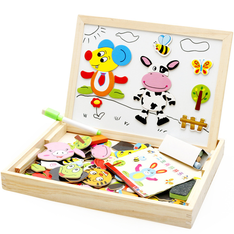 SLPF 100Pcs Wooden Magnetic Puzzle Toys Children 3D Animals Drawing Board Learning Kids Birthday Christmas Gift  D21