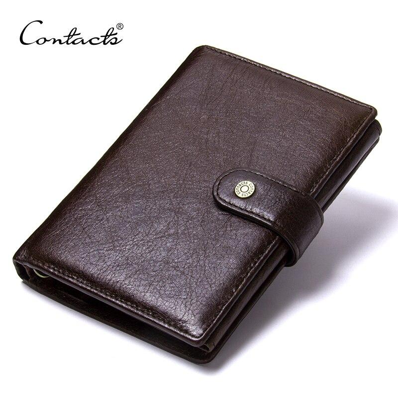 CONTACT'S Top qualité véritable portefeuille en cuir de vache hommes Hasp Design sac à main court avec passeport porte-photo pour les portefeuilles d'embrayage masculin