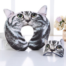 Cartoon Portable Neck Pillow with Eye Mask Eyelashes Lash Cute Cat for Sleeping Travel Office Airplane