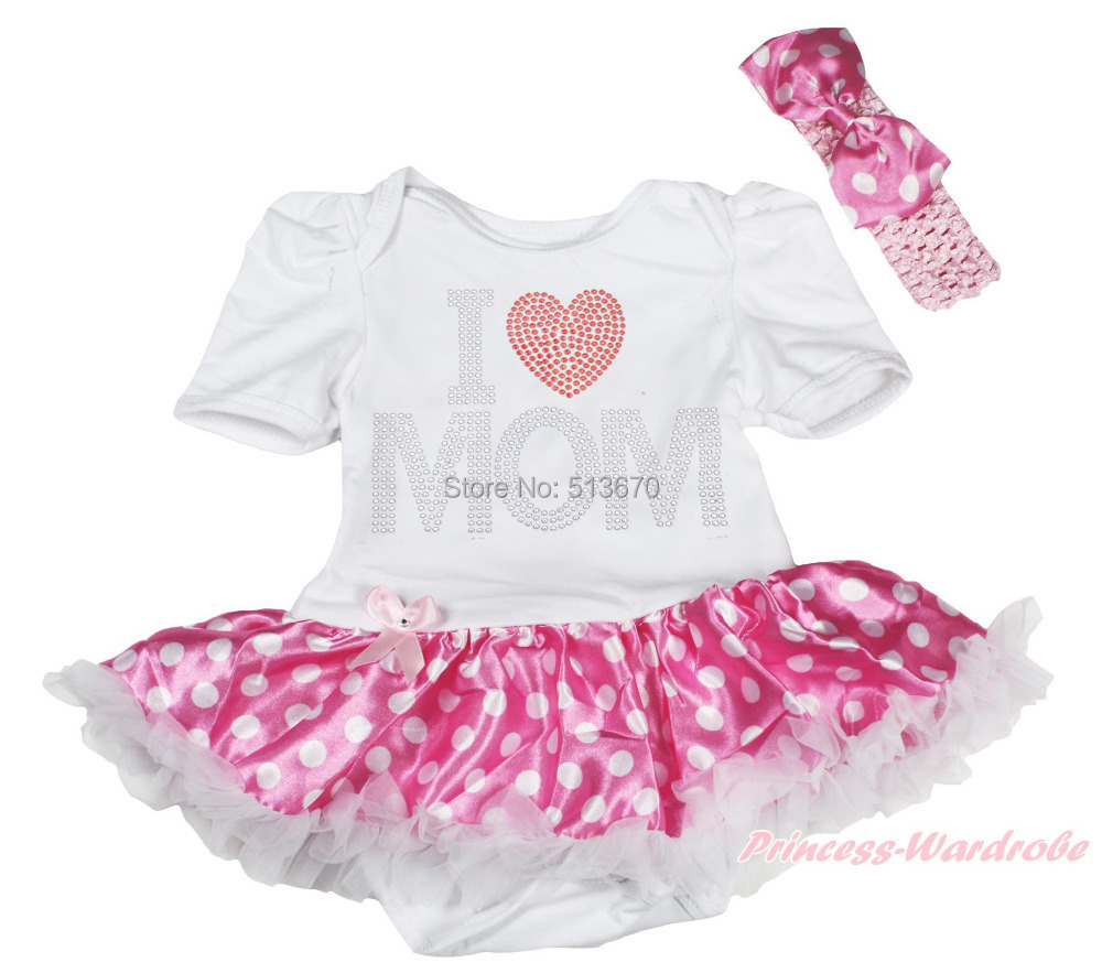 ⑧Rhinestone I love mom blanco bodysuit Pink puntos blancos falda ...