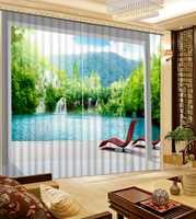 Modern Home Decoration Blackout 3D Curtain stereoscopic landscape curtains green curtain