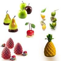 Для фруктов яблок лимон груша вишня мусс силиконовые формы для торта 3D выпечки Шоколадные украшения Кондитерская Muffin Moule Cookie DIY