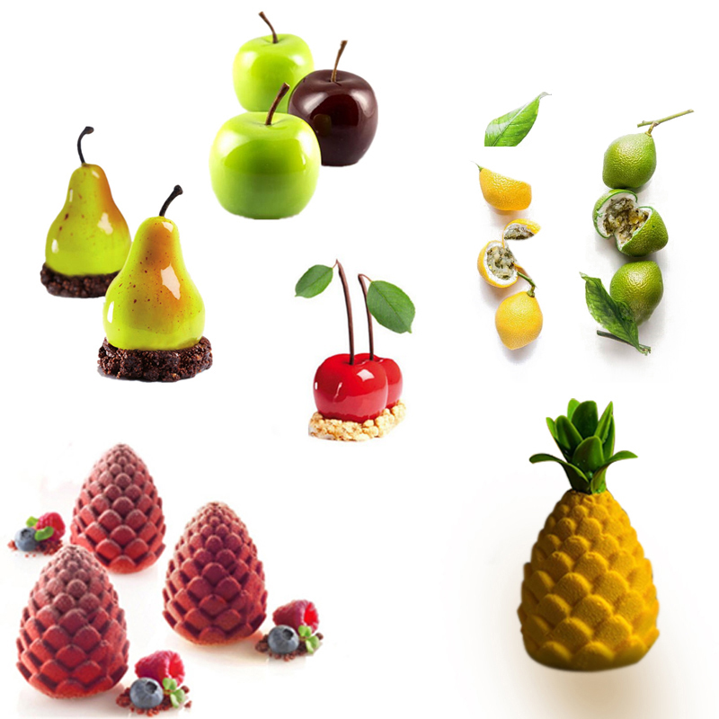 DIY Silicone Fruit Shape Cake Mold For Mousse Dessert Mould 3D Apple Lemon Pear Cheery Chocolate