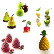 DIY силиконовые фрукты форма торта для Мусса десерт плесень 3D яблоко лимон груша Cheery Шоколад формы для выпечки лоток