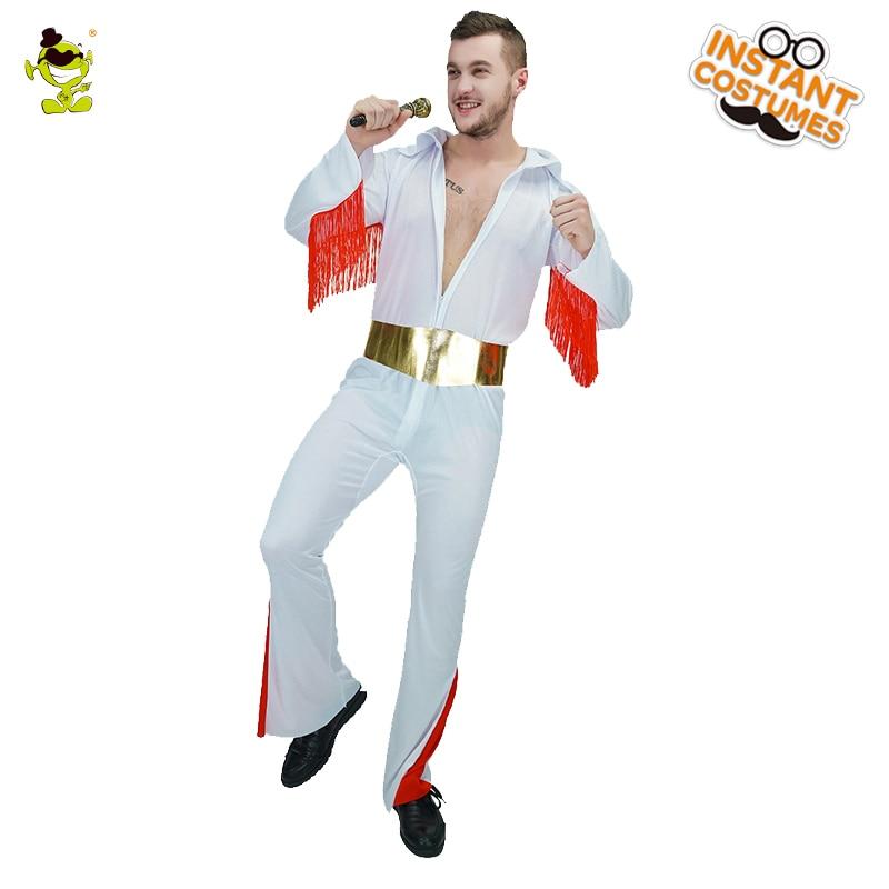 Men s Elvis Presley Costume Carnival Party Cosplay Rock Singer Masquerade  Club Rock Presley Costumes 829c40697fa3
