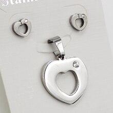 Sweet Love Heart Stainless Steel Jewelry Set