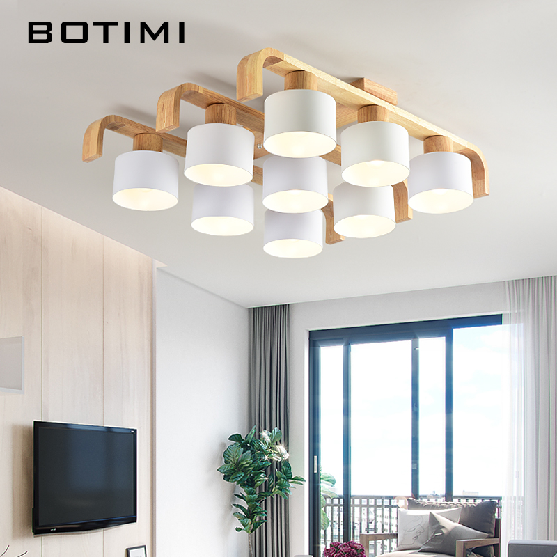 BOTIMI Nordic Style Ceiling Lights For Living Room Square Surface Mount White Bedroom Lamp Wooden Ceiling Lamp Dining Luminaire ceiling