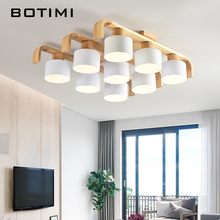 BOTIMI Nordic Style Ceiling Lights For Living Room Square Surface Mount White Bedroom Lamp Wooden Dining Luminaire
