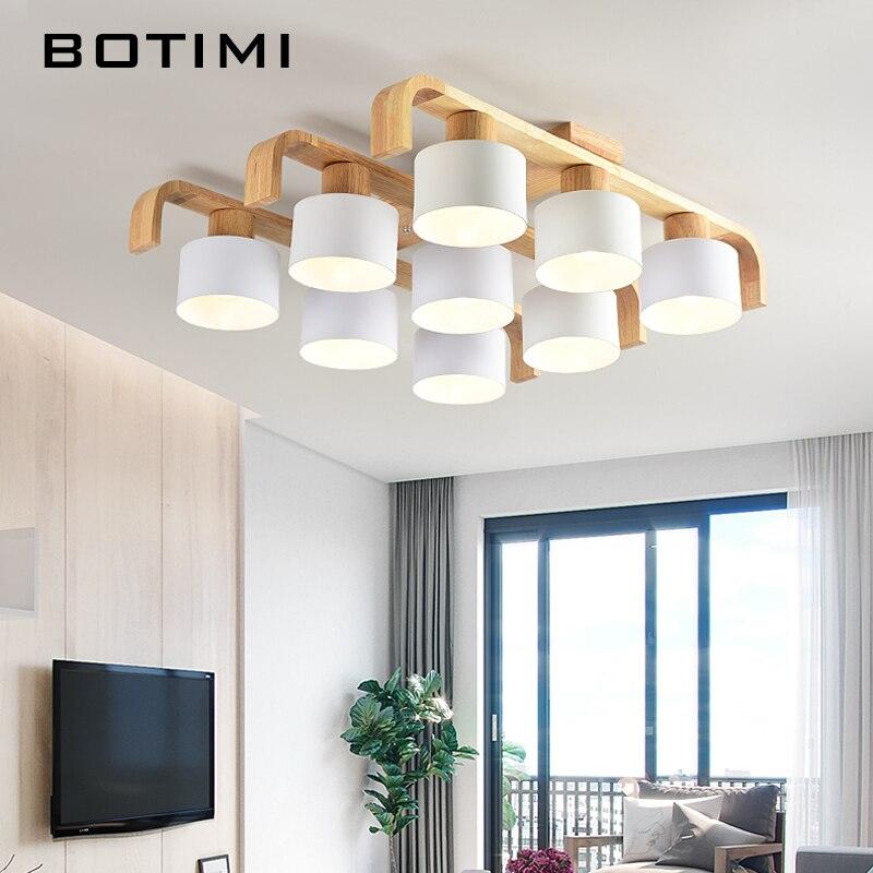 BOTIMI Style Nordique Plafond Lumières Pour Salon Carré Surface Mount Blanc Chambre Lampe En Bois Plafond Lampe À Manger Luminaire