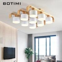 BOTIMI Nordic Стиль потолочные светильники для Гостиная площадь поверхностного монтажа белый Спальня лампа Деревянный потолочный светильник об