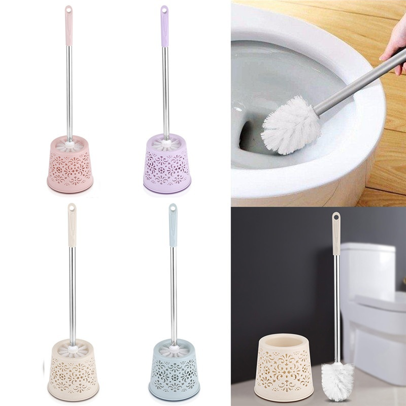 Stainless Steel Handle Toilet Brushes With Holder Bathroom Cleaning Tool