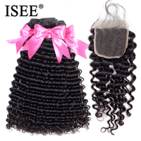 ISEE HAIR Brazilian Deep Wave With Closure 100% Remy Human Hair Bundles With Closure 3 Bundles Hair With Closure Nature Color