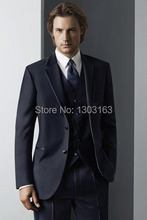 2016 High quality Two buttons Notch Lapel Navy Blue Groom Tuxedos Men's Wedding Dress Best man Suit Groomsman/Bridegroom Suits
