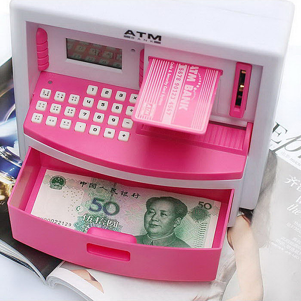 Mini Atm Bank Toy Digital Cash Coin Storage Save Money Box Machine Saving