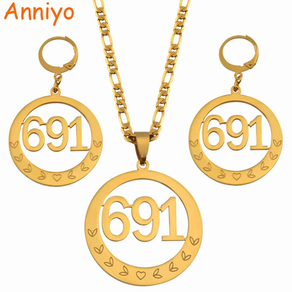 Anniyo Micronesia Round Big Pendant Necklaces Earrings sets for Women 691 Jewelry Gifts #047621S