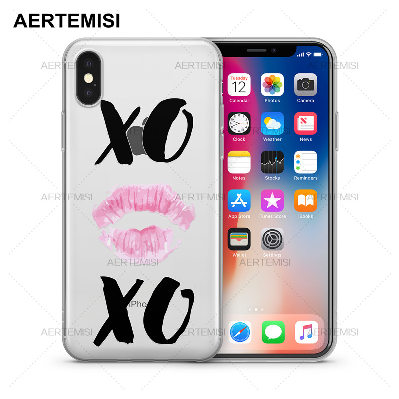 US $1 99 50% OFF|Aertemisi Phone Cases Pink Lipstick Print with XO Hand  Lettering Clear Soft TPU Case Cover for iPhone 5 5s SE 6 6s 7 8 Plus X-in