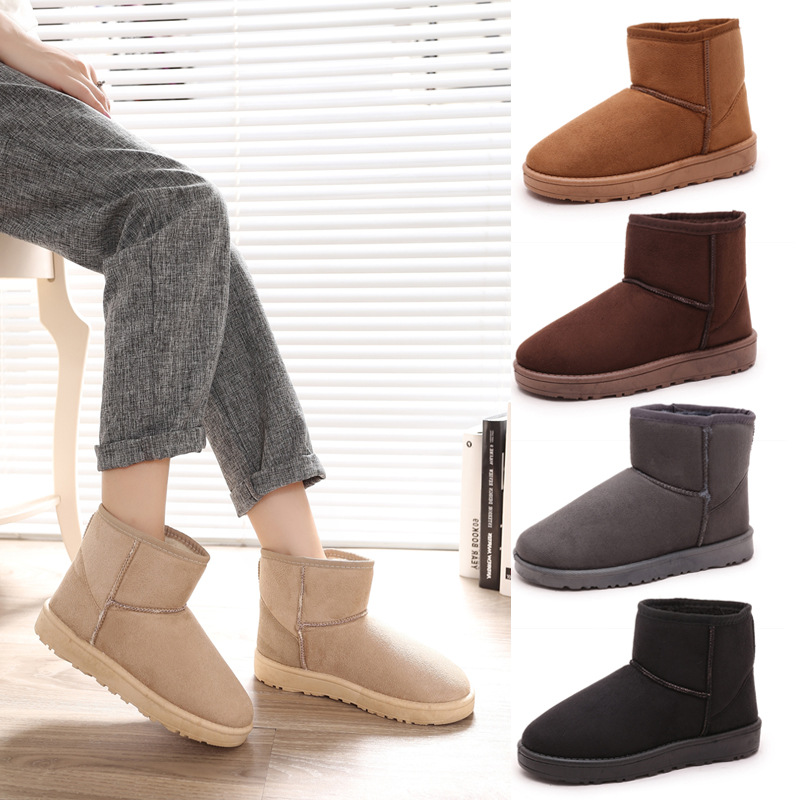 Detail Feedback Questions about Warm Snow Boots Casual Flats Leisure Ankle  Boot Solid Comfortable Round Toe Women Shoes Ladies Winter Women Boots on  ... ab4236142941
