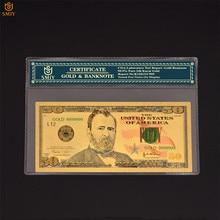 Nuevos productos de papel de moneda de EE. UU., dinero de 50 dólares, oro 999, papel de aluminio dorado, billetes, regalos de negocios y colecciones