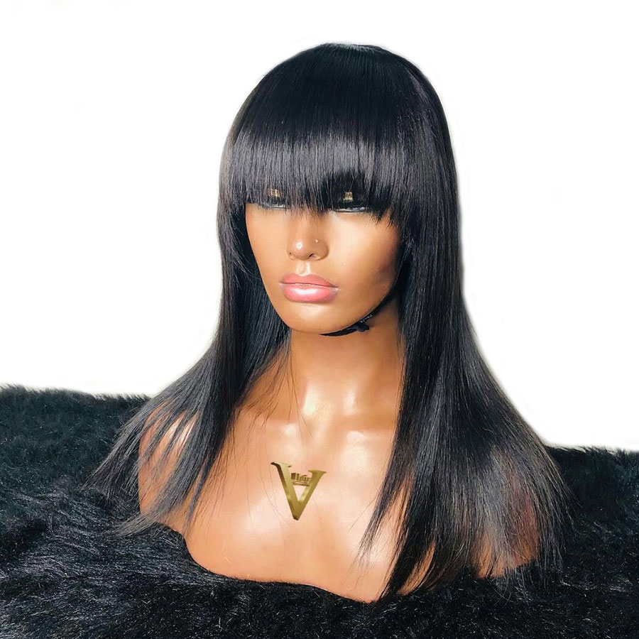 Straight Lace Front Human Hair Wigs With Bangs Pre-Plucked Natural Bleached Knots Brazilian Human Remy Hair Wigs With Fringe