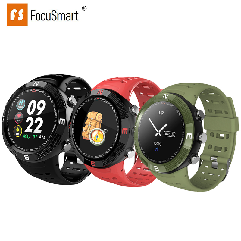FocusSmart F18 GPS Smart Watches Blood Pressure Heart Rate Monitor Watches Fitness Tracker IP68 Waterproof Compass Smart Watch
