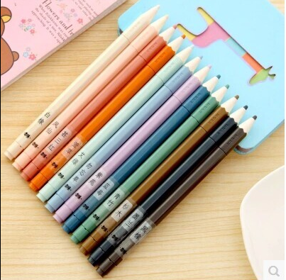 Free Shipping Office Colorized Neutral Pen 12 Colors Gel School Stationery Whole