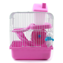 AILJ cage for a hamster Practical 2 Floors Storey Hamster Cage Mouse house with slide disk spinning bottle hamster cage