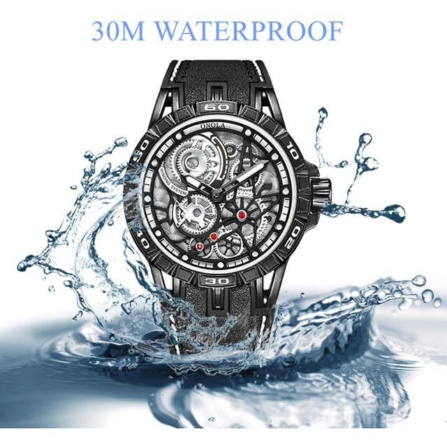 ONOLA Men's Unique Design Limited Military Black Mechanical Waterproof Japan Movement Quartz Watches 5