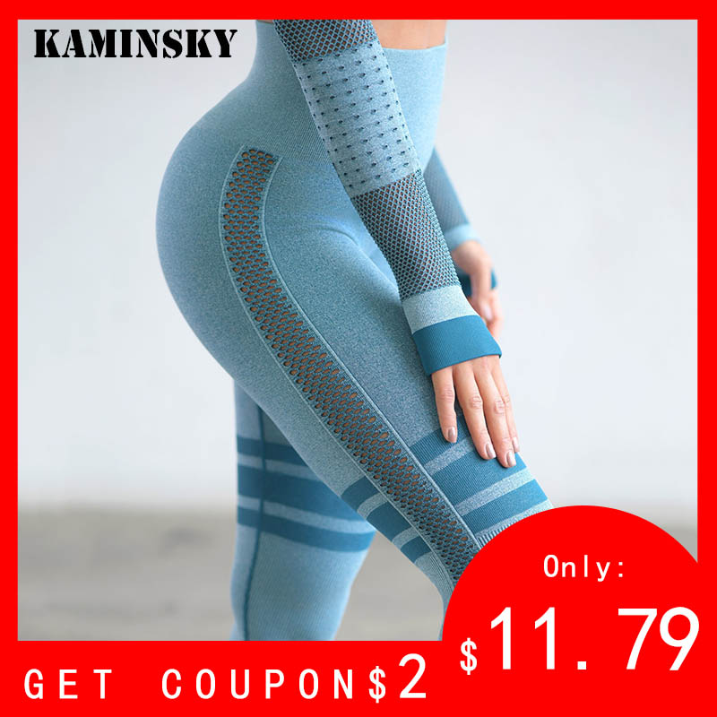 Kaminsky Women High Waist   Leggings   High Waist Solid Seamless Pants Push Up Workout   Leggings   Female Striped Mesh Fitness   Leggings