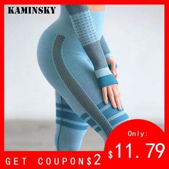 7ec8f6df Leggings de cintura alta para mujer de Kaminsky pantalones sin costuras  sólidos de cintura alta Leggings de entrenamiento Push Up de malla a rayas  para ...