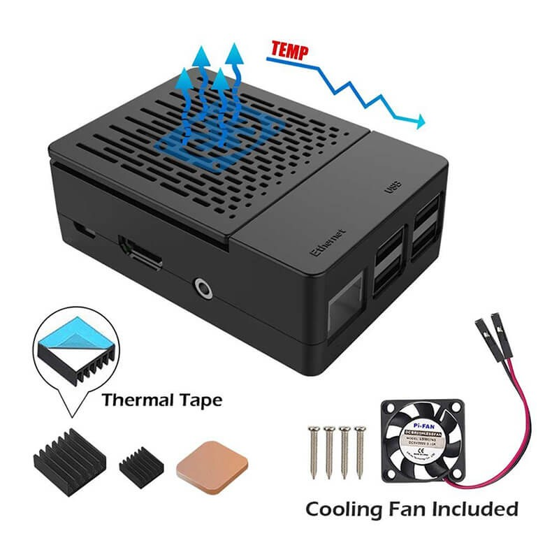 Elecrow Multifunction Kit For Raspberry Pi 3B+ Case With Cooling Fan +aluminum Heatsinks Black Box Shell For Raspberry Pi 3/2/B+