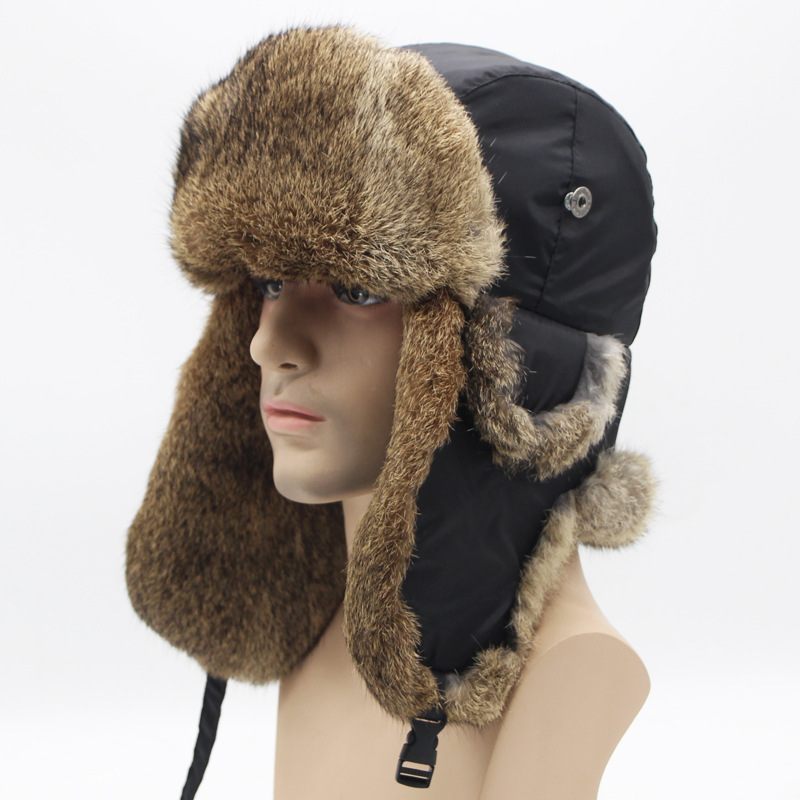 Detail Feedback Questions about Winter Fur Hat Bomber Hunting Winter Hat  Leather Winter Russian Military Ushanka Fur Womens Fur Leather Aviator  Soviet ... 589bdcfffe50