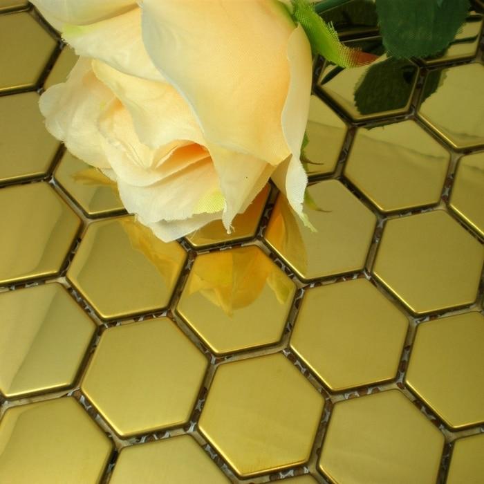 Golden Color Hexagon 26mm Stainless Steel Metal Mosaic