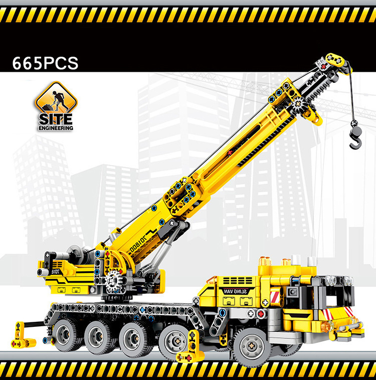 купить City Engineering vehicle crane minifigs building block technics sling van truck model bricks worker figures toys for boys gifts по цене 3258.44 рублей