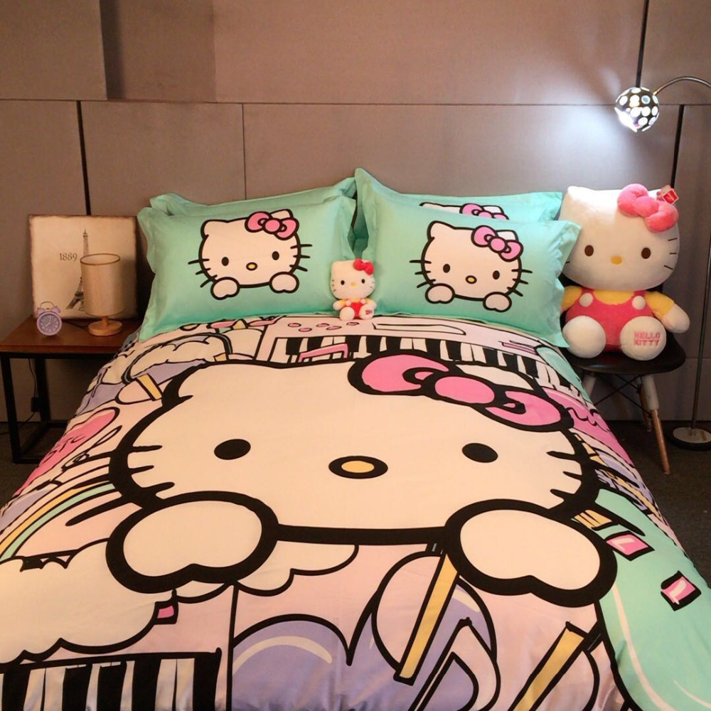 Pink hello kitty bedsheet - Girls Hello Kitty Bed Bedding Set Cotton Light Green And Pink Cotton Cartoon Comforter Duvet Cover