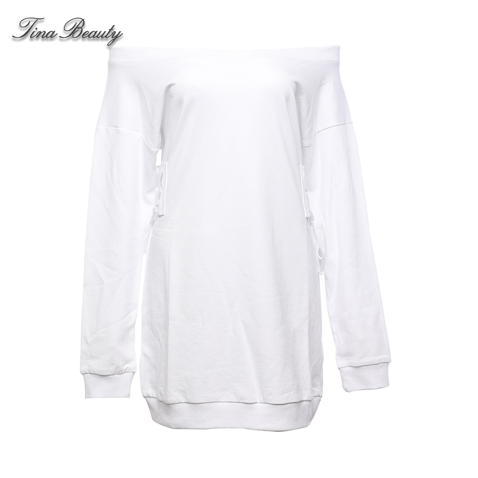 44a078a671 US $27.71 34% OFF|Aliexpress.com : Buy Tina Beauty Kyliejenner Off the  Shoulder Side Lace Up Cotton Sexy Dress Womens White Pleated Solid Club  Night ...