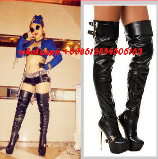 2017 hot selling high heel boots woman platform over the knee sexy boots gold heels thigh high boots big size club wear boots