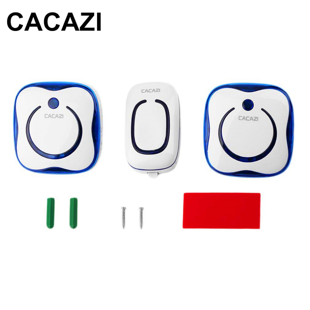CACAZI 9809 Waterproof AC Digital Wireless Doorbell Button 1 Transmitter 2 Receivers Remote Control Elderly Pager Plug-in Bell 2 receivers 60 buzzers wireless restaurant buzzer caller table call calling button waiter pager system