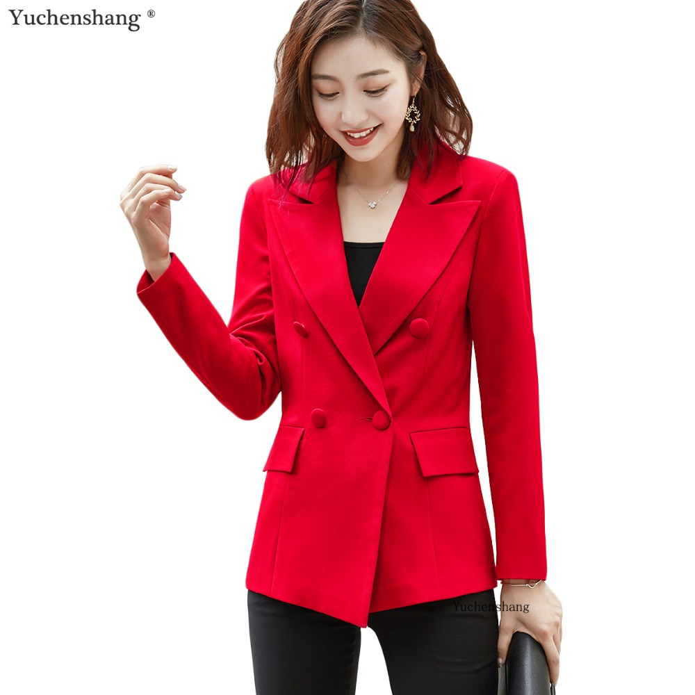 women solid notched collar fashion blazer with four buttons pockets female ladies loose outwear chic Jackets