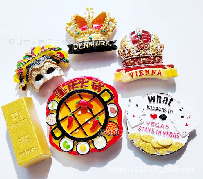 (5 pieces a lot )Danish Crown Las Vegas New Orleans Mask Chongqing Hot Pot Fridge Magnet