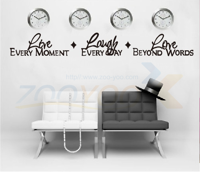 free shipping live every moment laugh and love quote wall decal zooyoo8018 adesivo de parede removable vinyl wall sticker